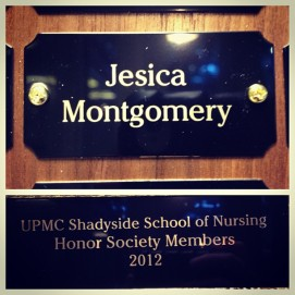 my name on a plaque at UPMC SSON